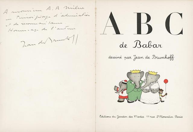 BRUNHOFF (JEAN DE) ABC de Babar, FIRST EDITION, AUTHOR'S PRESENTATION COPY TO A.A. MILNE