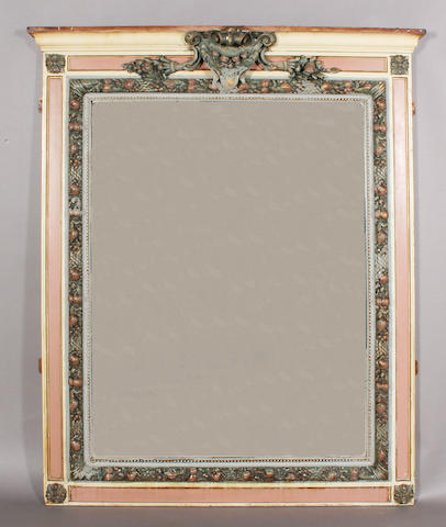 A decorative 19th century fruit and foliate moulded gesso and later polychrome painted frame overmantel mirror