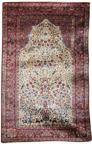 A silk Kashan prayer rug Central Persia, 206cm x 123cm