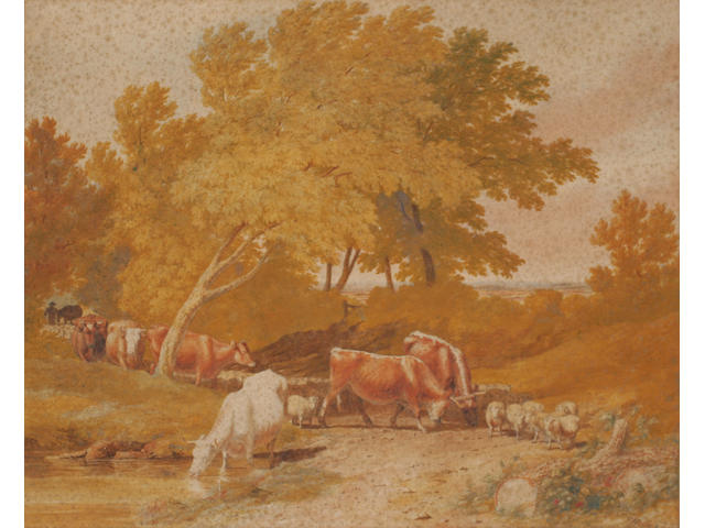 Robert Hills, OWS (1769-1844) British Cattle and sheep droving,