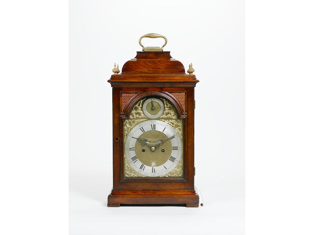 A third quarter of the 18th century mahogany bell topped bracket clock James Ewmane, London
