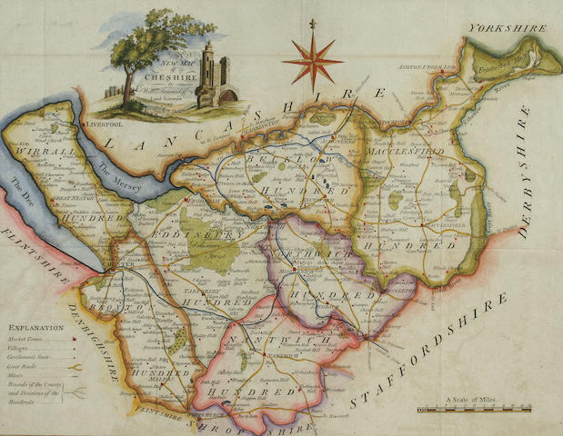 CHESHIRE A map of the Diocess of Chester divided into deaneries by T. H., engraved map, hand coloured, (55 x 41.5 cm.), also Tunnicliff (William), A new map of Chester, 1786,