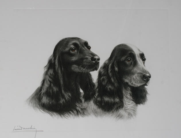 Leon Danchin (1887-1939) French Two setter heads,