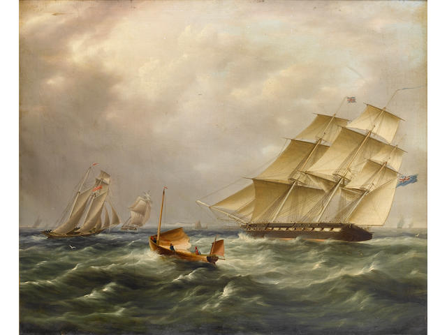 James Edward Buttersworth (British, 1817-1894) A frigate under full sail closing with other shipping in the Channel 64 x 76.2cm (25 x 30in)