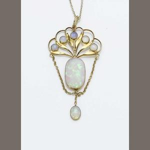 A Guild of Handicraft gold and opal pendant Unmarked,