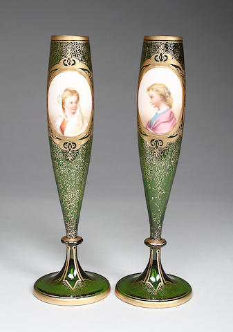 A pair of Bohemian green glass bud vases mid 19th Century,