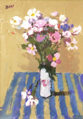 """Donald McIntyre (1923-) """"Flowers on a striped cloth"""""""