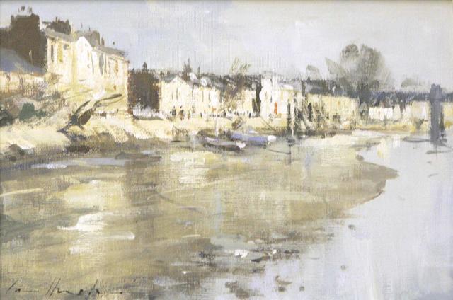 Ian Houston (1934-) Strand-on-the-green, sunlight (Chiswick)