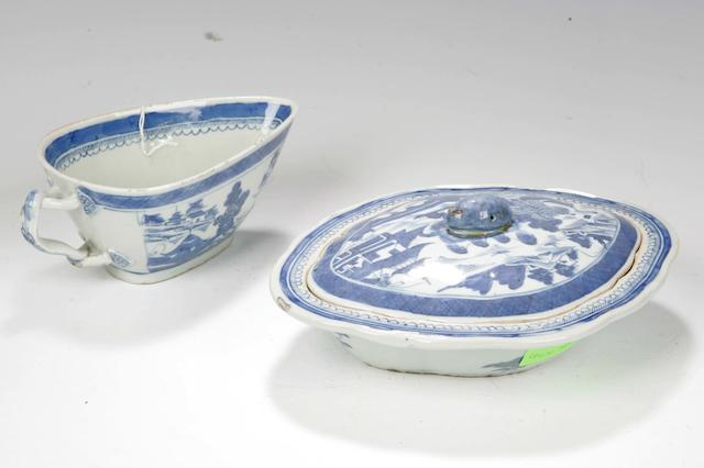 A blue and white quatrefoil tureen and cover and sauce boat Chinese 18th century