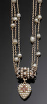 An early Victorian ruby diamond and seed-pearl necklace