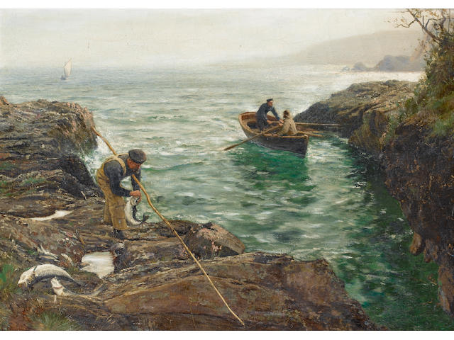 Charles Napier Hemy (British, 1841-1917) 'Bass Fishing' 66 x 91.4cm. (26 x 36in.)