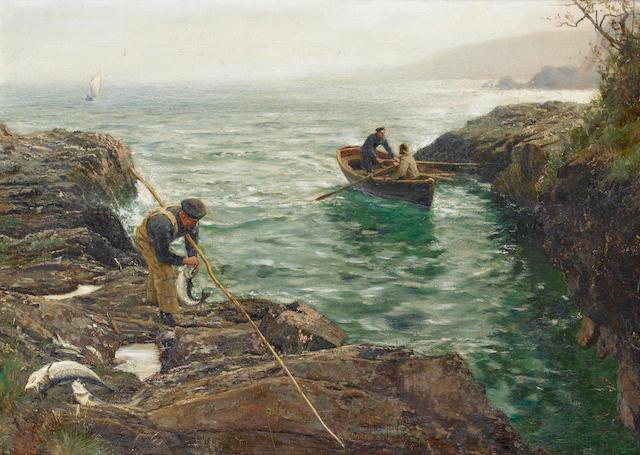 Charles Napier Hemy (British, 1841-1917) 'Bass Fishing' 66 x 91.4cm. (26 x 36in.)