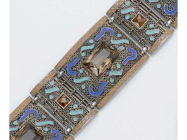 A Theodor Fahrner bracelet With indistinct monogram, stamped 935,