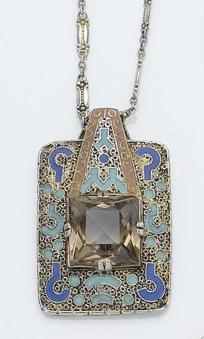 A Theodor Fahrner necklace, ring and pair of matching earrings With maker's monogram, stamped 935,