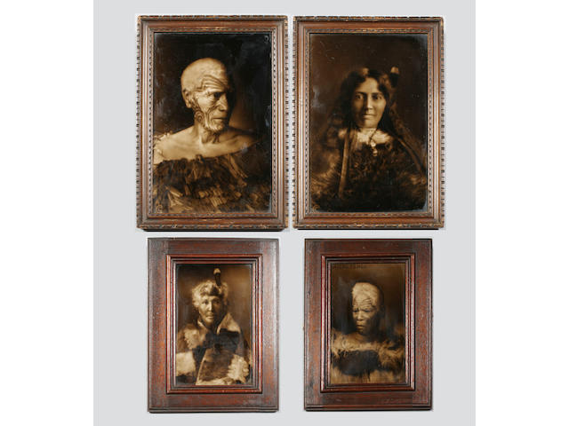 George Cartlidge: Four Maori portrait tiles