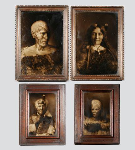 George Cartlidge: Four Maori portrait tiles