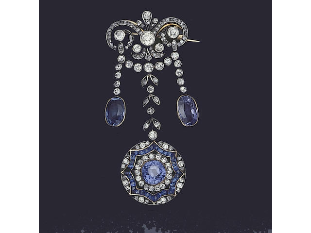 A belle époque sapphire and diamond brooch,