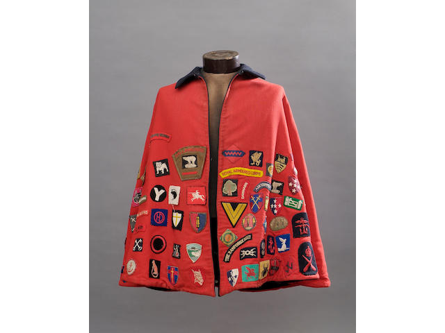 WWII Period Scarlet/Blue Nurse's Cape Decorated with Good Quality Period Division Signs, Shoulder Titles Etc.