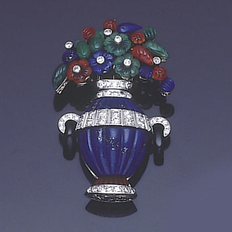 An art deco diamond and multi gem-set giardinetto brooch,