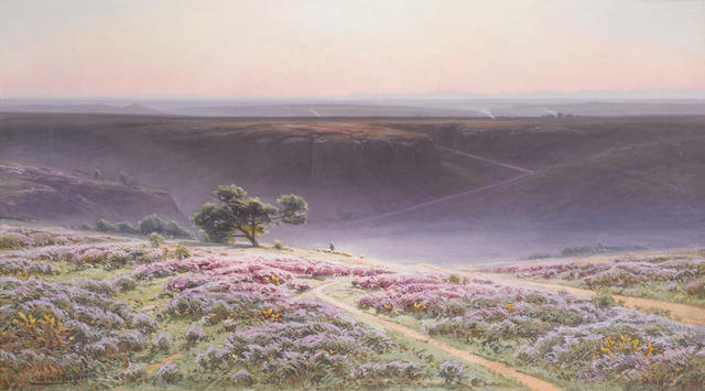 William Didier-Pouget (French, 1864-1959) Bruyères en fleurs 47.5 x 83.5 cm. (18 3/4 x 32 3/4 in.)
