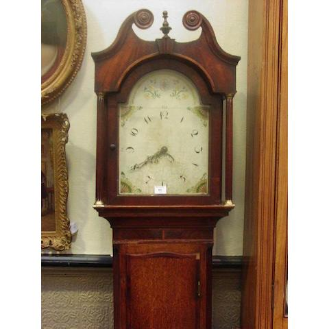 An oak and mahogany cased 30 hour long case clock circa 1806,