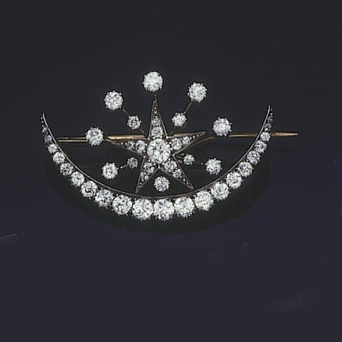 A late 19th century diamond crescent and star brooch,