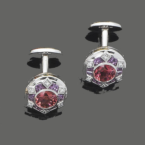 A pair of pink tourmaline and diamond cufflinks, by William & Son