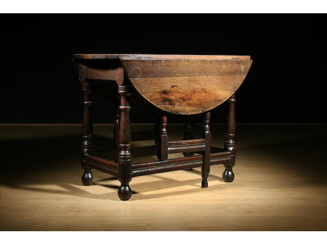 A late 17th Century and later oak gateleg table