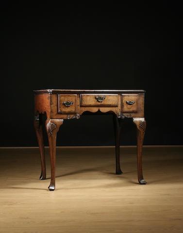 Geo III oak & walnut side table