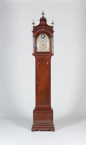 A very fine mid 18th century quarter-chiming mahogany longcase clock of two week duration with spherical moon John Ellicott, London