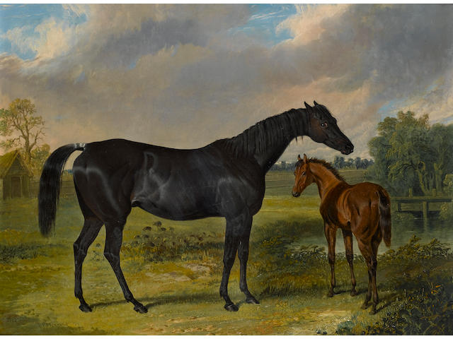 John Fredrick Herring, Snr. (1795-1865) Pipylina and foal 36.5 x 48.5 cm. (14 1/4 x 19 1.4 in.)