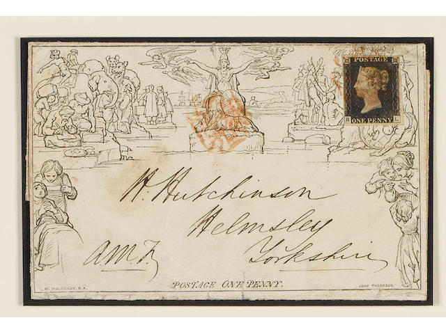 1840 1d. Plate 1b: RL, close to large margins, tied by indistinct red M.C. to 1840 August 28 Mulready 1d. letter sheet A15 from Sunderland to Helmsley. Some peripheral faults.