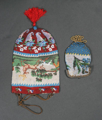 Two early to mid 19th century purses