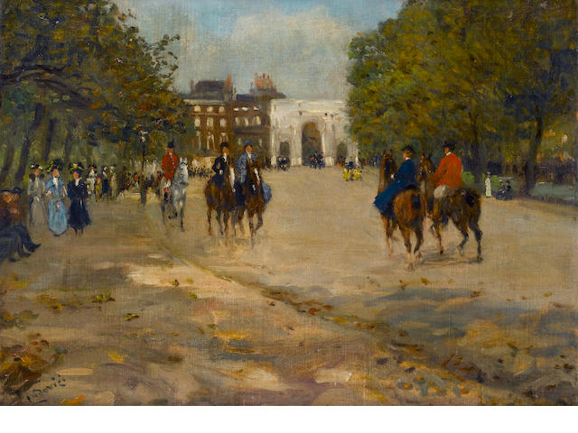 Albert Ludovici, Jnr. (1852-1932) Riding in Hyde Park 40 x 60 cm. (15 3/4 x 23 3/4 in.)