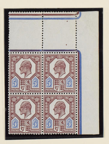 1911-13 Somerset House: 5d. dull reddish purple and bright blue (S.G.293), block of four from the right of the sheet with interpanneau margin at the top, marginal blemishes, the stamps unmounted o.g.