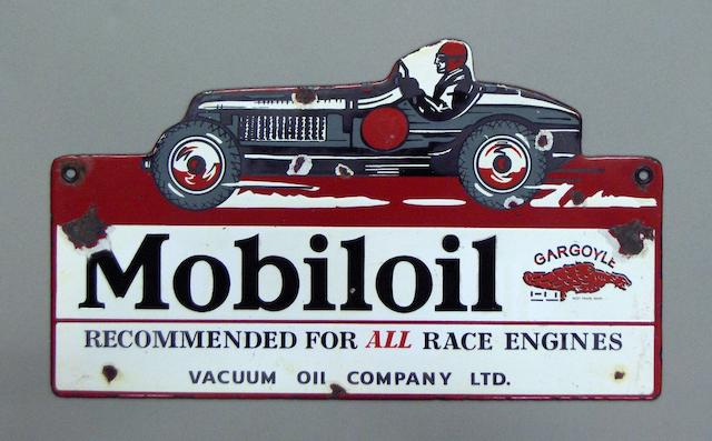 A Mobiloil enamel sign,