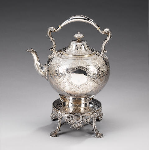 A Victorian silver tea kettle on stand and burner, by Martin & Hall, Sheffield 1864,