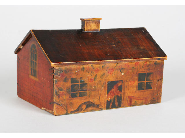 A rare and charming Georgian whitewood painted sewing box in the form of a single storey cottage