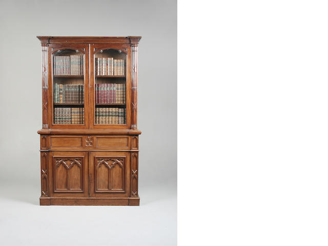 An early Victorian Gothic mahogany secretaire bookcase