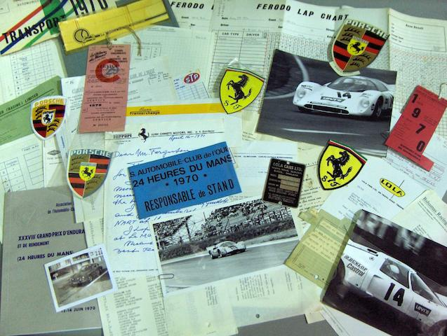 A quantity of ephemera relating to the organisation of sports racing cars for the Steve McQueen film Le Mans,
