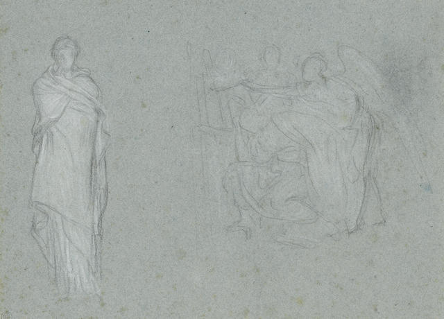 Frederic, Lord Leighton, PRA (British, 1830-1896) An early study for 'Elijah in the Wilderness' and a draped figure, possibly for 'Helen of Troy' 20 x 27.5 cm. (8 x 10 3/4 in.)