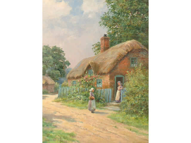 "Manner of Ernest Worbourn, ""Outside the Cottage Door"", ""The river"", a pair of oils on canvas, 33 x 25.5cm. (2)"