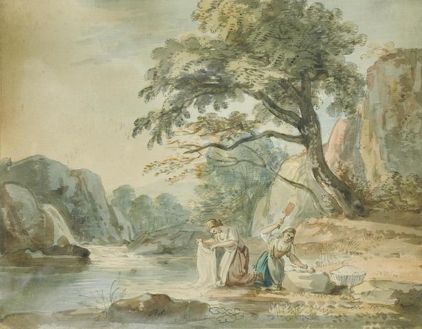 Paul Sandby, R.A. (British, 1730-1809) Washerwomen by a stream 21.5 x 27 cm. (8 1/2 x 10 3/4 in.)