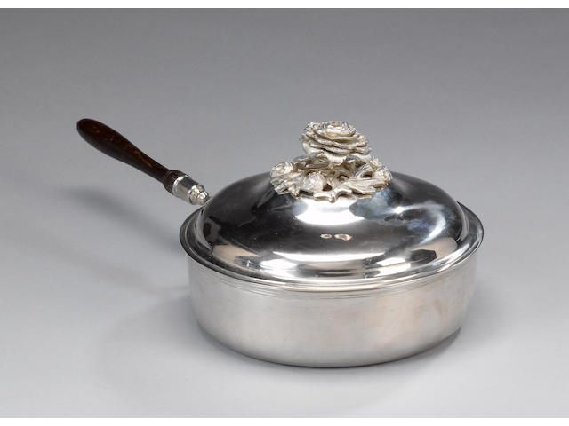 A Russian silver pan and cover, with detachable handle, maker's mark indistinct, assay master Alexander Rukavishnikov, Kazan, 1785,
