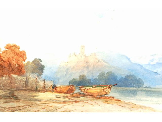 Thomas Miles Richardson Junior (1813-1890) Boats on a shore, with a castle beyond,