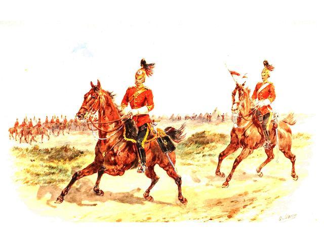 Orlando Norie (British, 1932-1901), '3rd Dragoon Guards', 20 x 30.4cm.