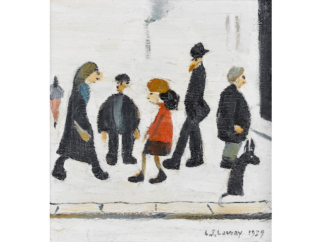 Laurence Stephen Lowry R.A. (1887-1976) Group of people 16.5 x 15.2 cm. (6 1/2 x 6 in.)