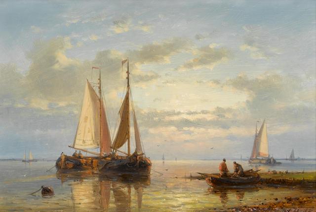 Abraham Hulk Snr. (Dutch, 1813-1897) In a calm; A choppy estuary ??? each 17.5 x 25.4cm. (6 7/8 x 10