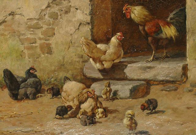 William Baptiste Baird (American, 1847-1917) Chickens.