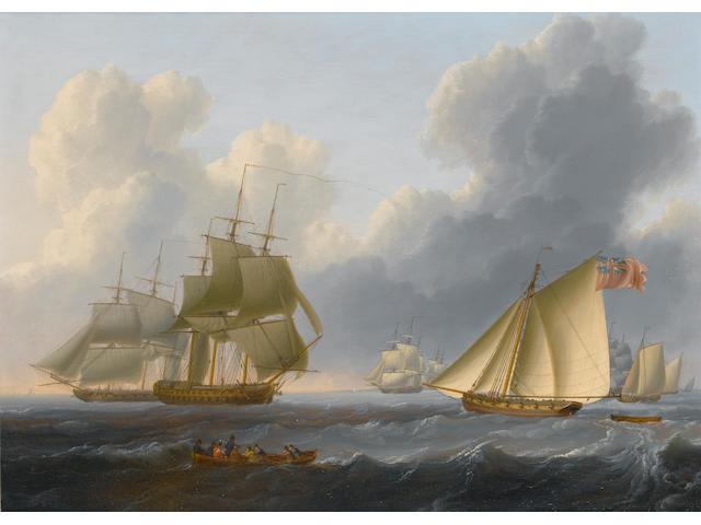 William Anderson (British, 1757-1837) Evening - a calm coast off Holland; An English Fleet off the c